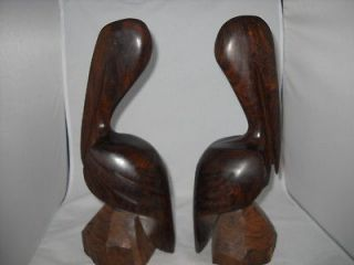 hand carved mexican ironwood pelican bookends  125