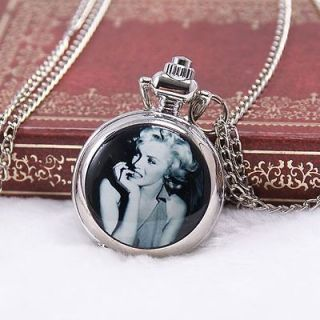 Vintage Marilyn Monroe## Gift Antique Style Quartz Necklace Pocket