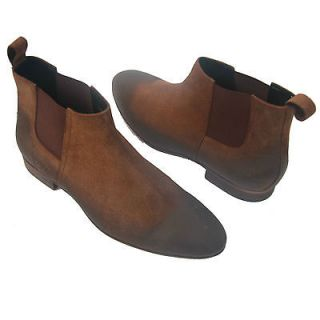 HUGO BOSS Red Label Italy Brown Ankle Chelsea Dress Boots 9 42 Suede