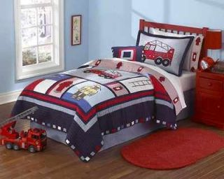 Fireman Fire Truck Red & Blue Full Queen Boys Bedding Set Quilt & 2