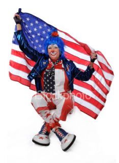stock photo 6267968 clown holding usa flag
