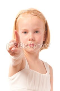 stock photo 9884571 little girl pointing