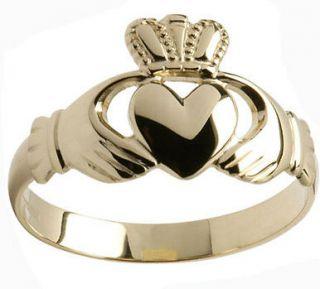 10K Gold Mens Heavy The Claddagh Ring of Ireland Irish Made sz 8 9.5