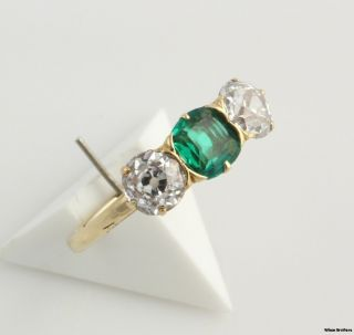 64ctw Genuine Emerald Diamond 3 Stone Ring   18k Yellow Gold Antique