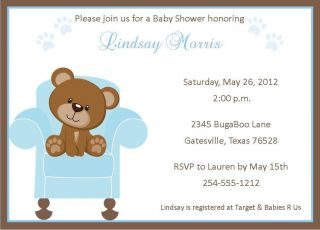 24 teddy bear baby shower invitations  13