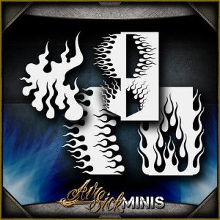 mini flame set 3 airbrush stencil template airsick time left