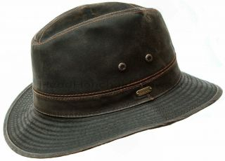 STETSON Mens Cotton Safari Outback Hat Brown Cowboy Fedora Hunting