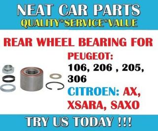 REAR WHEEL BEARING FOR PEUGEOT 106 206 306 309 CITROEN SAXO AX XSARA