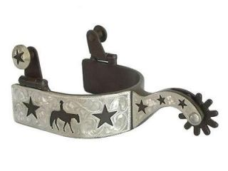 Western Pleasure Horse Riding Stars Show Spurs Silver Engraving Mens