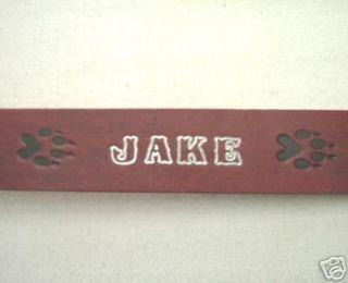 dc33 paw print personalized 1 w leather dog collar