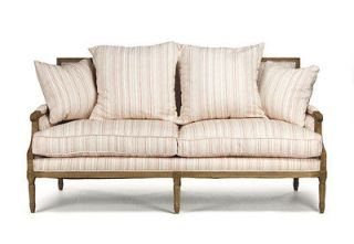 CHIC SHABBY FRENCH STYLE COTTON/STRIPES SOFA, 69LONG,SO CHIC