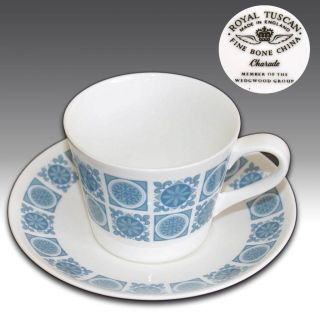 RETRO ROYAL TUSCAN CHARADE FINE BONE CHINA CUP & SAUCER BLUE FLORAL