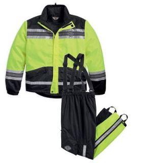 Harley Davidson Mens Rainwear HI Visibility Yellow Rainsuit Small SM