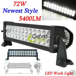 NEW 72W LED Work Light Bar Driving Lamp Offroad 4x4 4WD JEEP SUV Boat