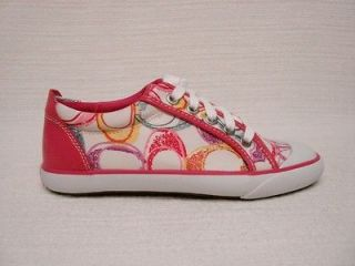 NIB COACH BARRETT PINK MULTI COLOR POPPY TENNIS SHOES SNEAKERS SIZE 9