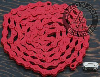 Red Single Speed Fixie Bicycle Chain YBN 1/2x1/8 112L Schwinn