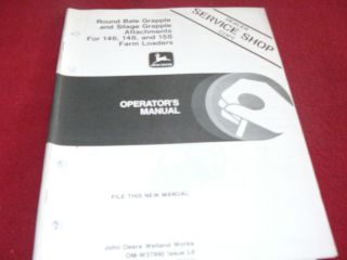 Deere Round Bale Silage Grapple 146 148 158 Loader Operators Manual
