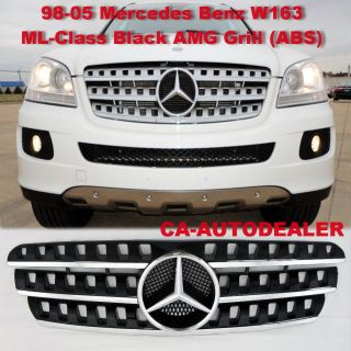 98 05 W163 ML Class Black AMG Front Bumper Grille Grill Mercedes Benz