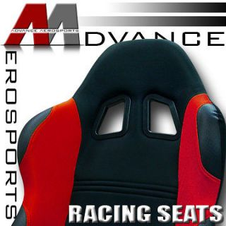 2x Universal LH+RH Black/Red Fabric & PVC Leather Racing Seats+Sliders