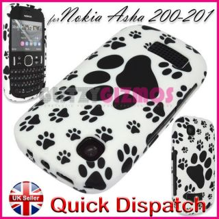 CAT PAW PRINT GEL SILICONE RUBBER CASE COVER FOR NOKIA ASHA 200 / 201