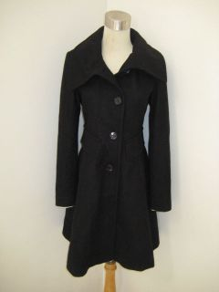 WOMEN COAT LONG WOOL FIT AND FLARE WOMEN COAT NWT $198 Black and Red