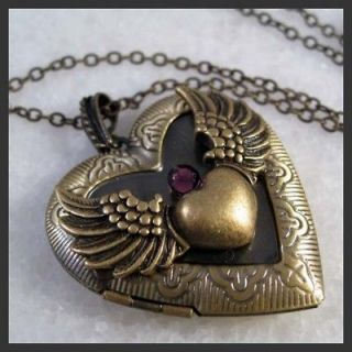 angel wing heart amethyst brass locket pendant necklace from china