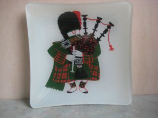 Unique Reverse Painted Glass Trinket Dish with Bagpiper Red & Green