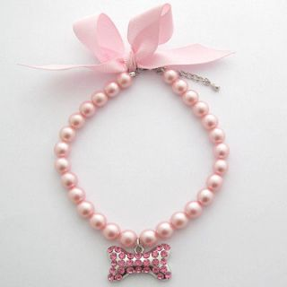 Dog pearls necklace,pet collar with pink bone pendant,with ribbon