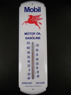 Mobil Motor Oil Gas Fuel Station Thermometer Garage Sign Flying