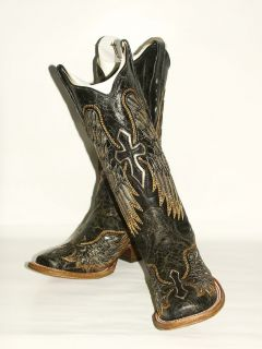 275 Womens Corral Blk Western Square Toe Boot / Silver Cross Wing