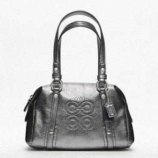 Brand New COACH Audrey Metallic Gunmetal Leather Small Bag Purse 47772