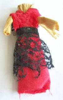 Vintage Primitive CORN HUSK DOLL Red & Black Lace Mexican style Dress