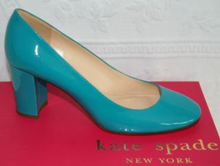 NEW $328 Kate Spade NY SHELLY 8 M Turquoise Patent Leather Heels Pumps