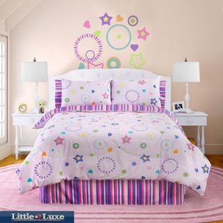 Glow In The Dark Star Glow 4 piece Twin size Comforter Set   Pink