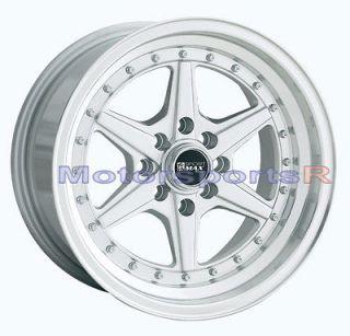 15 15x8 XXR 501 Hyper Silver Wheels Rims Deep Dish Lip Stance 4x114.3