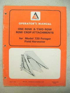 ALLIS CHALMERS ROW CROP ATTACHMENTS FOR 720 HARVESTER OPERATORS MANUAL