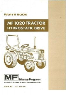 massey ferguson tractor 1020 hydro parts manual