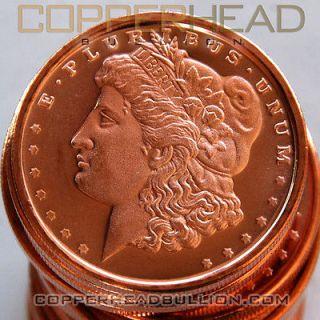 Roll of (20) 1oz Morgan Head Dollar Copper Coins .999 Pure Bullion