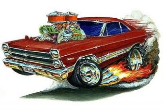 1966 67 ford fairlane muscle car toon art tshirt new more options size