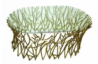 Horchow Elm Glass Top IRON TWIG Coffee Cocktail Table Gold Branch