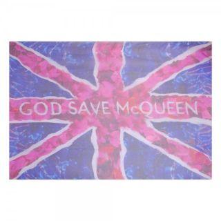 ALEXANDER McQUEEN UNION JACK BRITANNIA GOD SAVE McQUEEN PINK SILK