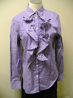 Lauren Ralph Lauren Button Front Striped Ruffle Front Shirt