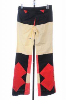 Derek Lam 10 Crosby 4 s Cherry Red Printed Wide Leg Pant Flat Front $