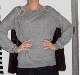 Phillip Lim Gray Silk Cashmere Beaded Sweater Shirt Size S