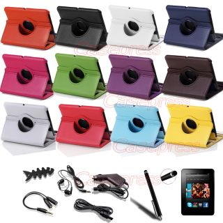 360 Degree Rotating Leather Case Cover Stand for  Kindle Fire HD