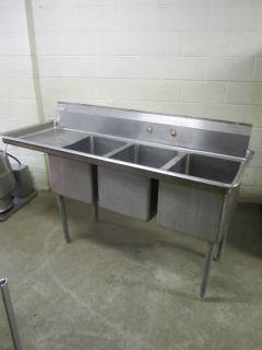 Compartment 6 ft Long Aero Stainless Steel Sink w Drain Board