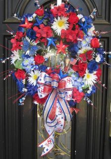 4th Fourth of July Patriotic USA Memorial Day Floral Door Wreath
