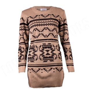 New Womens Ladies Long Sleeve Aztec Print Jumper Dress Top Size 8 10