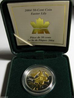 2004 Canada 50 Cent Easter Lily Proof Silver Coin with Selective Gold