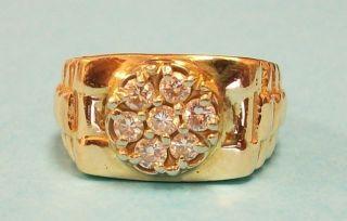 Mens Diamond Cluster Ring 14k Yellow Gold 7 Diamonds Total 1 2 Ct